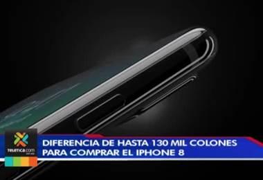 Diferencia de hasta ₡130.000 para comprar el iPhone 8 en el país