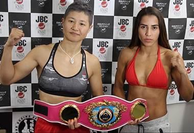 Yokasta Valle y Naoko Fujioka superaron la báscula para la pelea |Foto: Notifight.