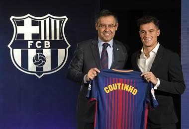 Presentación de Coutinho en el Barcelona.|AFP