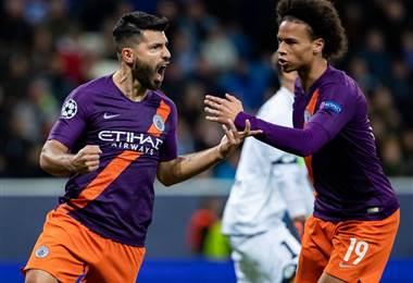 Sergio Agüero y Leroy Sané, jugadores del Manchester City  Facebook UEFA Champions League.