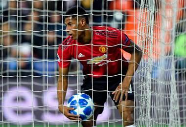 Marcus Rashford delantero del Manchester United. Champions League