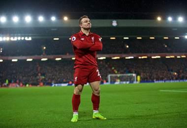 El suizo Xherdan Shaqiri fue el héroe de la victoria del Liverpool tras anotar un doblete. Tomada del Facebook del Liverpool