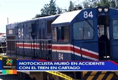 Motociclista murió en Cartago tras ser atropellado por el tren