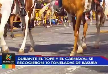 Durante el Tope y el Carnaval la Municipalidad de San José recogió 10 toneladas de basura