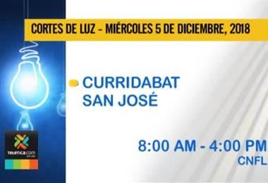 Vecinos de Curridabat no tendrán electricidad este miércoles