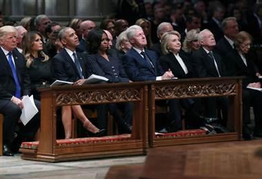 Presidentes de Estados Unidos reunidos para el funeral de George H. W. Bush
