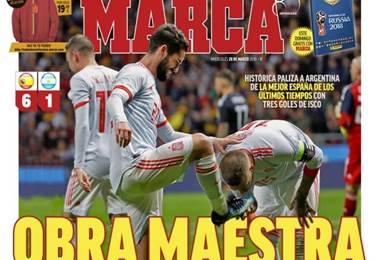 Prensa española tras el partido ante Argentina.