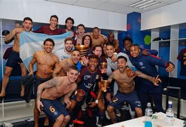 Jugadores del PSG celebran la quinta Copa de Francia,|PSG en Facebook