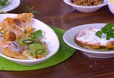 Receta: Pañuelos de crema pastelera, kiwi y granola