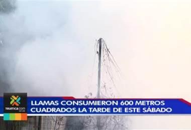 Enorme incendio consumió 1.600 metros cuadrados de mueblería en Desamparados