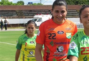 La portera costarricense Daniela Solera, quien se desempeña en el Atlético Huila.