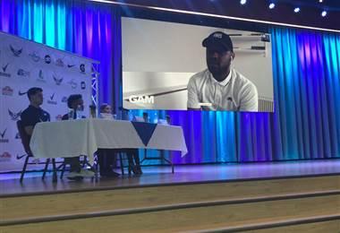 Joel Campbell durante videoconferencia.|Melissa Alvarado