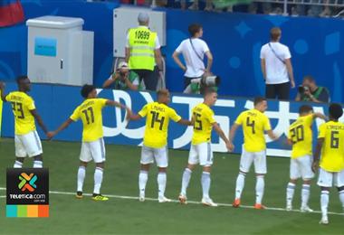 Festejo de la selección de Colombia ante Senegal.