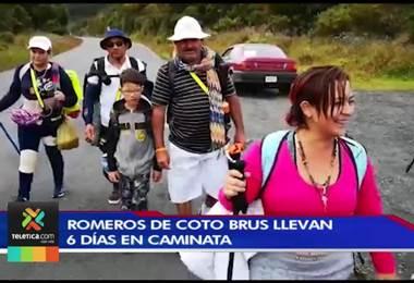 Romeros de Coto Brus cumplen este lunes 6 días de peregrinación