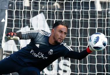 Keylor Navas durante la práctica del Real Madrid antes de la temporada 2018-2019.