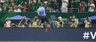 Luis Suárez celebra el gol de Uruguay sobre México.|AFP