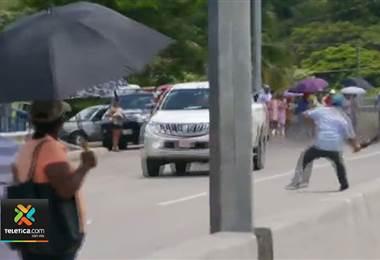 Conductor habría atropellado a tres huelguistas y se dio a la fuga en Guanacaste