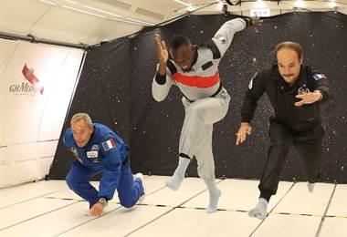 Usain Bolt corrió en gravedad cero. AFP