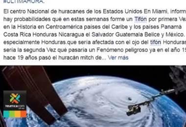 IMN desmiente informaciones falsas de posible huracán que afectaría el país