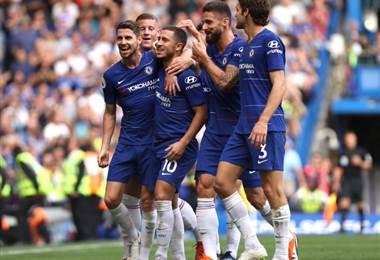 Jugadores del Chelsea celebran una de las anotaciones. Chelsea FC