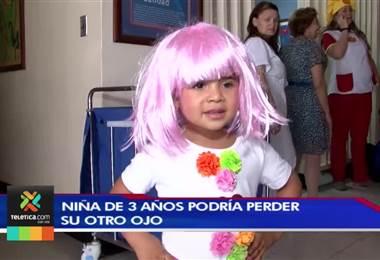 Madre clama por ayuda económica para su hija de 3 años quien podría perder su otro ojo