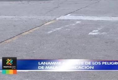 Lanamme advierte de los peligros de la mala demarcación en las carreteras del país