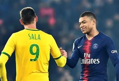 Emiliano Sala y Mbappé durante un partido de la liga francesa. @KMbappe