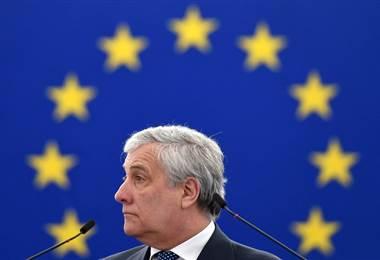El presidente de la Eurocámara, Antonio Tajani  AFP.