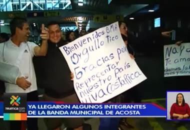 Jóvenes de la Banda Municipal de Acosta empiezan a regresar al país