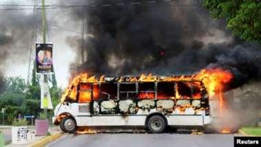 Bus en llamas, Culiacán, Sinaloa