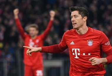 Robert Lewandowski celebra su gol con el Bayern Munich  | AFP