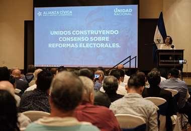 Presentación de la propuesta electoral en Managua. Foto: Carlos Herrera | Confidencial