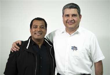 Félix Maradiaga y Juan Sebastián Chamorro, tras una entrevista en Esta Semana. // Foto: Elmer Rivas
