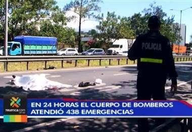 En 24 horas el Cuerpo de Bomberos atendió 438 emergencias en todo el país