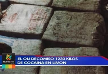 OIJ decomisó 1.230 kilos de cocaína tras realizar allanamiento en vivienda en Limón