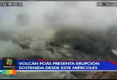 -          Volcán Poás lleva cuatro días de actividad sostenida