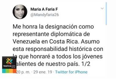 Gobierno reconoce a la representante diplomática asignada por Juan Guaidó para Costa Rica