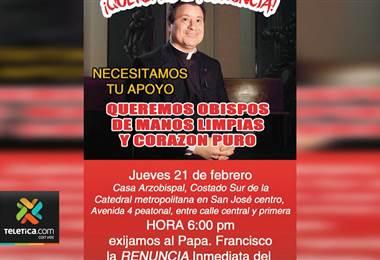 Este jueves se realizará una manifestación para pedir la salida del arzobispo de San José.