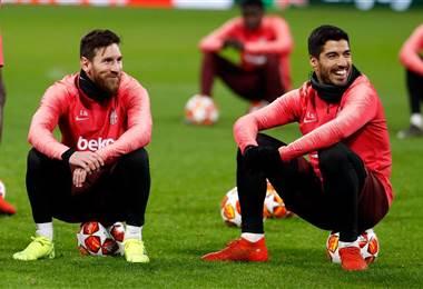 Los jugadores del Barcelona, Lionel Messi y Luis Suárez.