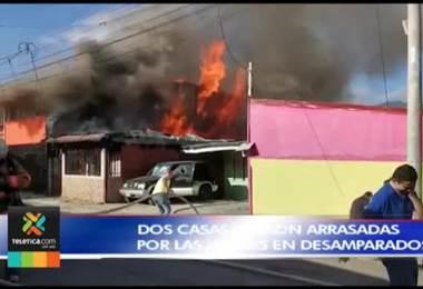 Incendio consumió una vivienda y afectó parcialmente otra en calle Fallas de Desamparados