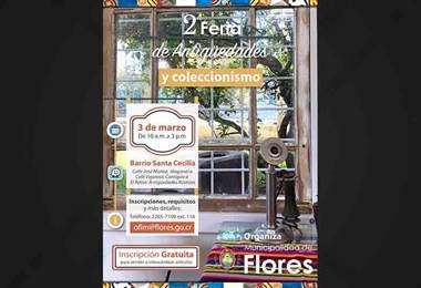 Municipalidad de Flores de Heredia le invita a una feria de antigüedades y coleccionismo