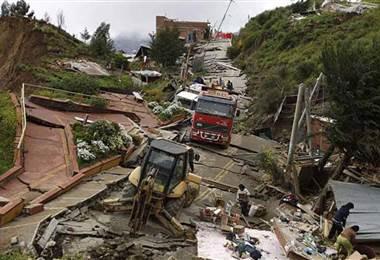 Deslizamientos de tierra en Bolivia.