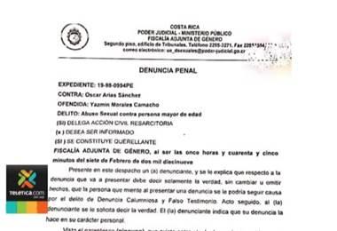 Fiscalía tramitará las denuncias contra Óscar Arias por delitos sexuales en un mismo expediente