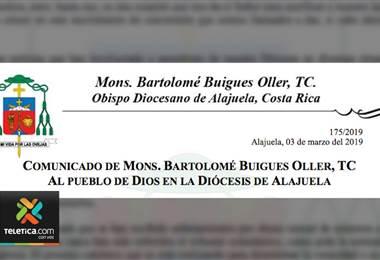 Diócesis de Alajuela confirmó cinco casos de sacerdotes ligados con abusos sexuales contra menores