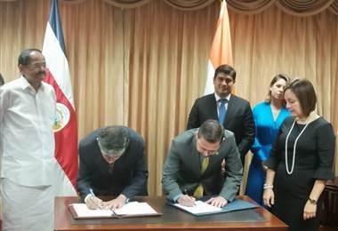 Costa Rica e India firman acuerdos para potenciar la cooperación entre ambas naciones