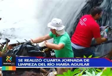 Voluntarios de cuatro cantones unieron esfuerzos para la limpieza del Río María Aguilar