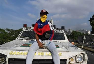 Manifestante en Venezuela. AFP
