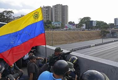 Militares en La Carlota, Venezuela. AFP