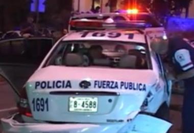 Unidad de Fuerza Pública dañada. Foto Archivo