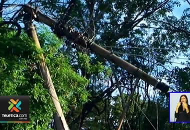 Caída de varios postes provocó daños en algunas estructuras